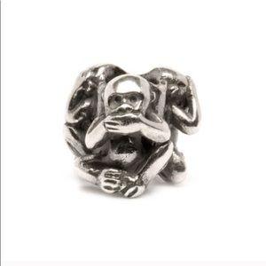 Trollbeads Three Monkeys silver bead